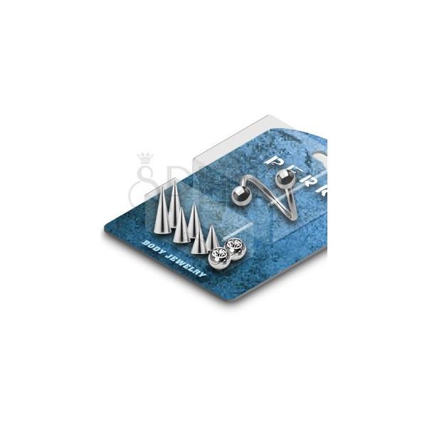 Komplet zavitega piercinga za obrvi s koničastimi ali okroglimi bunkicami