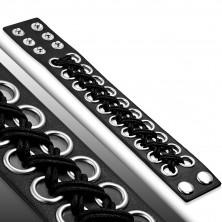 Črna usnjena zapestnica  - pleteni krogi, pritiskač