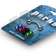 Upognjen piercing za obrvi - kroglice - komplet