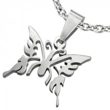 Obesek iz kirurškega jekla, sijoč metulj z izrezi, srebrne barve