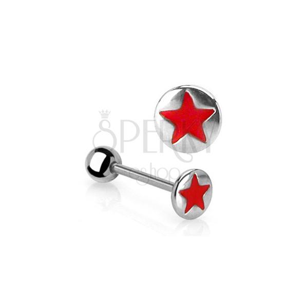 Piercing za jezik z rdečo zvezdo