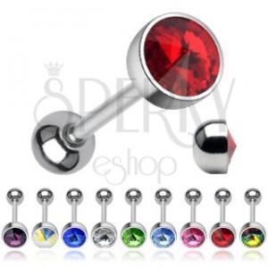 Piercing za jezik - koničast kristal Swarovski