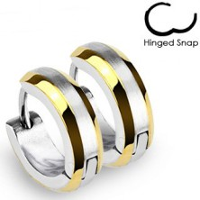 Okrogli uhani - pasovi zlate barve in srebrna sredina