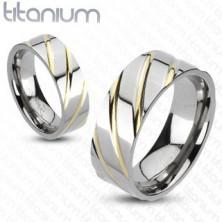 Prstan iz titana - srebrn, z zlatimi pasovi