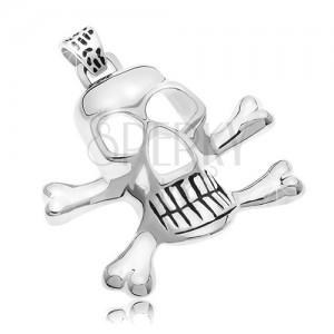 Obesek iz kirurškega jekla – piratska lobanja, srebrna barva