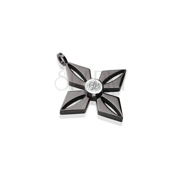 Obesek iz črnega kirurškega jekla - cvet s sijočim prozornim cirkonom