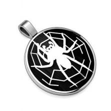 Obesek iz jekla 316 L, črn krog s pajkom in pajkovo mrežo