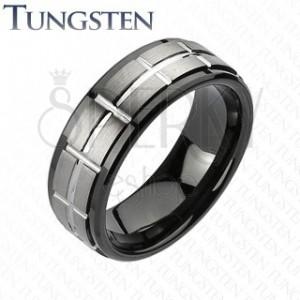 Brušen prstan iz volframa v črni in srebrni barvi