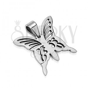 Obesek z metuljem iz kirurškega jekla - srebrna barva