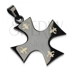 Obesek iz nerjavečega jekla - črn križ, Fleur de Lis