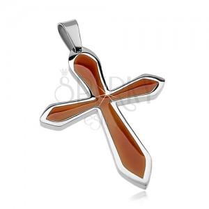 Obesek iz kirurškega jekla v obliki križa z rjavo glazuro