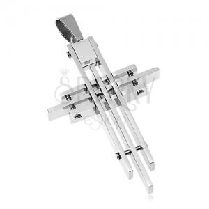 Obesek iz kirurškega jekla, križ iz tankih prizm