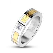Jeklen poročni prstan, zlat pas - Endless Love, cirkon