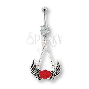 Uhan za popek z angelskimi krili in rdečo vrtnico