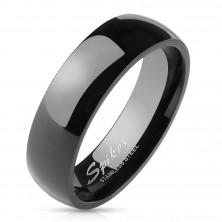 Preprost jeklen poročni obroček - gladka črna površina, 6 mm
