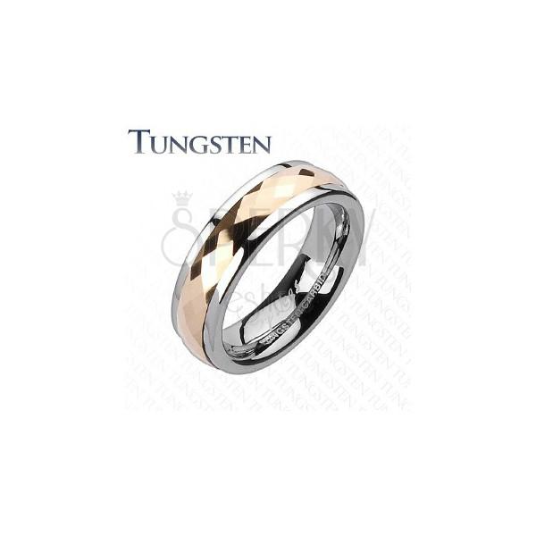Poročni prstan iz volframa - rozazlat vrteč se srednji del