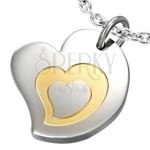 Dvobarven obesek iz kirurškega jekla, motiv - trojno srce