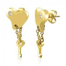 Jekleni uhani - pozlačeno srce s ključem na verižici