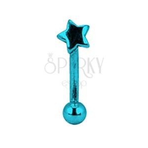 Piercing za obrvi iz anodiziranega titana - modra zvezda