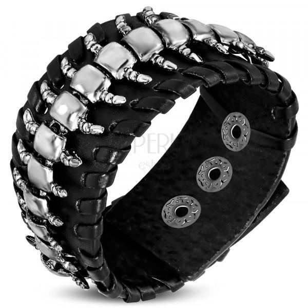Usnjena zapestnica črne barve – stonoga, okrasen rob