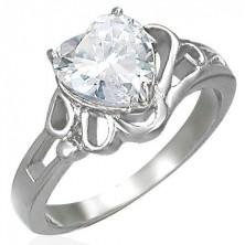 Sijoč jeklen damski prstan, velik srčast prozoren cirkon