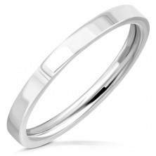 Poročni prstan iz nerjavečega jekla – preprost sijoč obroček, 2 mm