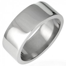 Bleščeč jeklen prstan, ploščat - 8 mm