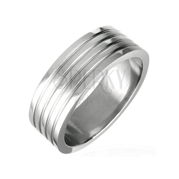 Mat jeklen prstan s štirimi utori