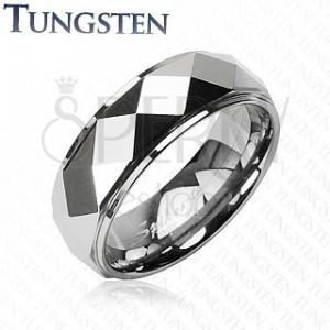 Volframov prstan s prirezanimi rombi, srebrne barve