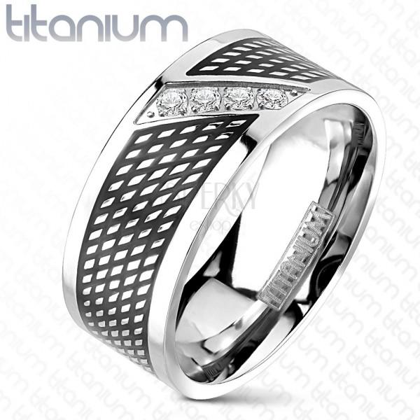 Prstan iz titana - črne in srebrne barve, poševna linija cirkonov