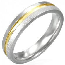 Mat jeklen prstan z zlato sijočo sredino