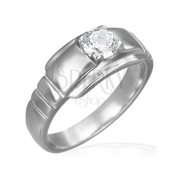 Jeklen zaročni prstan z okroglim kamenčkom na široki osnovi