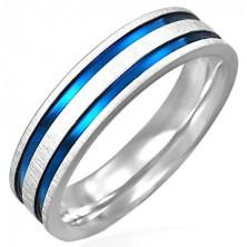Mat jeklen prstan z dvema modro-vijoličastima črtama