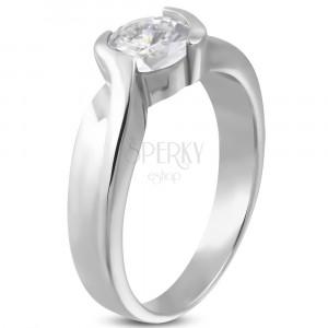 Zaročni prstan s prepletenim obročkom in kamenčkom