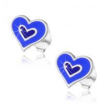 Uhani iz srebra 925 - dvojno srce