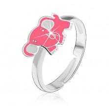 Otroški prstan iz srebra čistine 925 - roza slonček