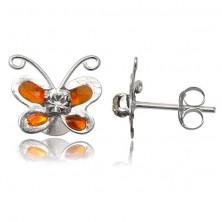 Uhani iz srebra sterling - oranžen metulj s prozornim kamenčkom