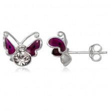 Uhani iz srebra sterling - leteči metulj, škrlatna krila s piko