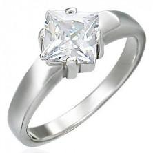 Zaročni prstan iz nerjavečega jekla, kvadraten kamenček