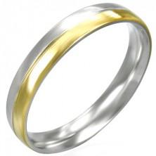 Ženski prstan iz jekla - srebrna in zlata barvna kombinacija