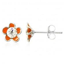Uhani iz srebra 925 - oranžna emajlirana cvetlica s cirkonom