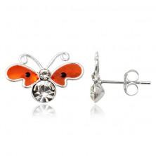 Srebrni uhani - zravnan oranžen metulj, cirkoni