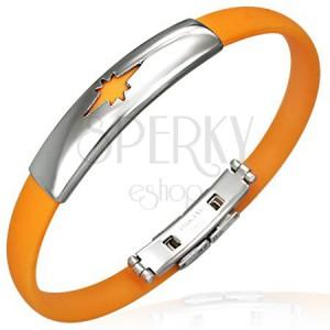 Zapestnica iz gume - zvezdast vzorec, oranžna
