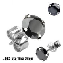 Uhani iz srebra sterling - okrogli, na voljo v različnih barvah