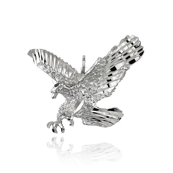 Obesek iz srebra sterling - bleščeč orel v napadu