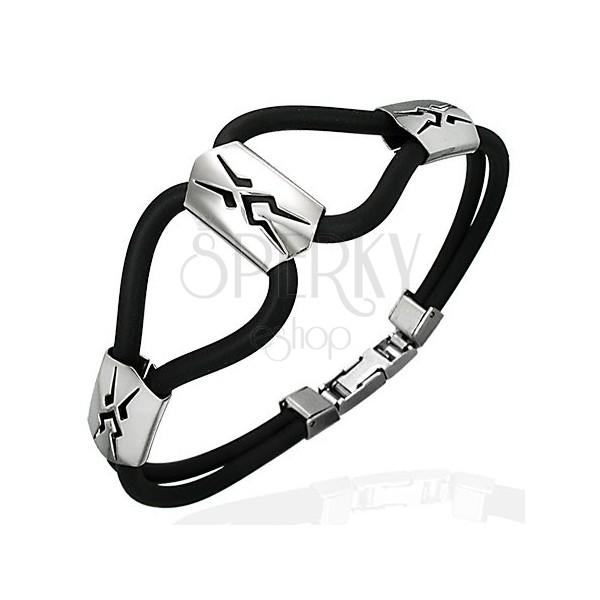 Silikonska zapestnica - trije jekleni plemenski simboli, črna