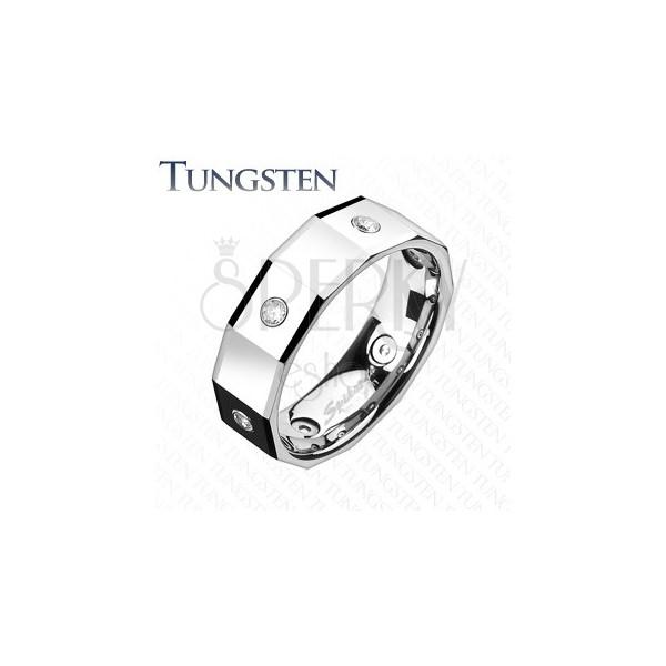 Oglat prstan iz volframa s kvadrati in cirkoni