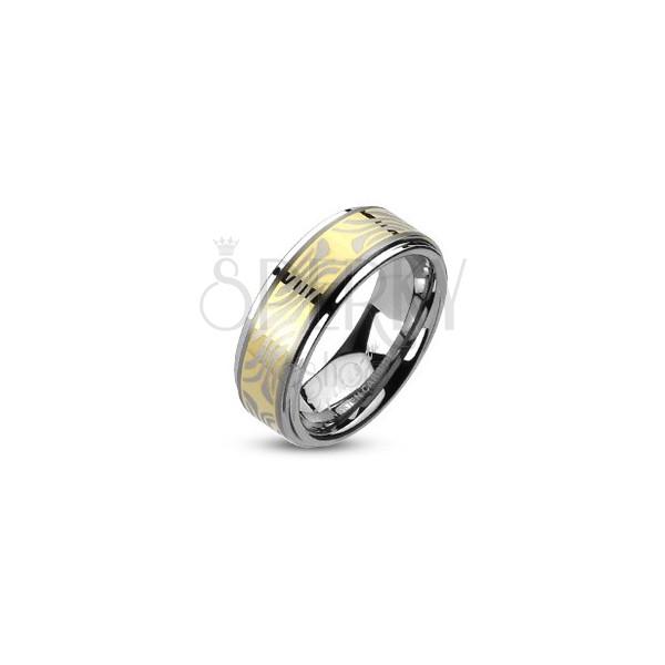 Prstan iz volframa z osrednjim delom zlate barve in zebrastim motivom