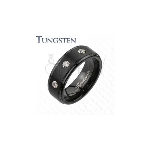 Volframov prstan - črn s tremi prozornimi cirkoni