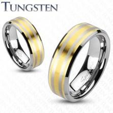 Prstan iz volframa z dvema pasovoma zlate barve